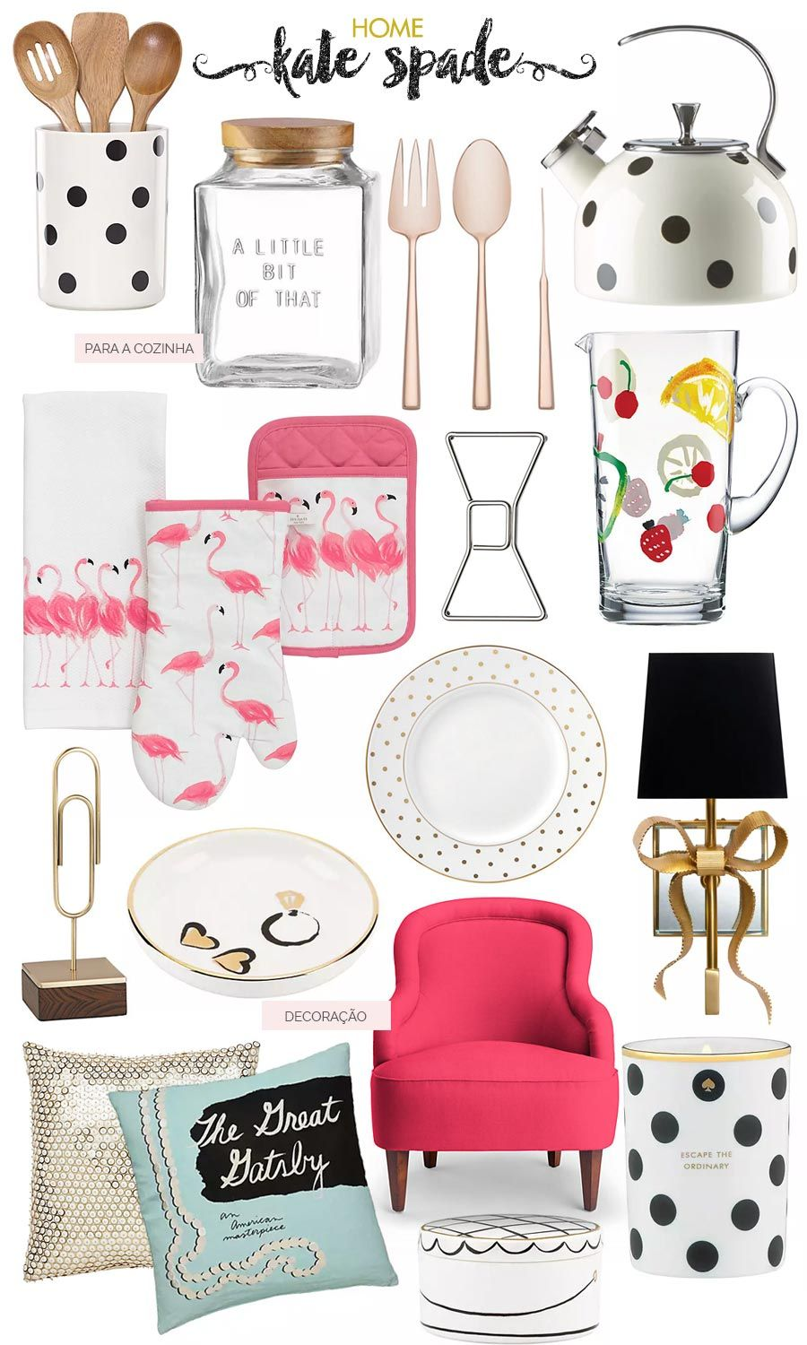 Kate Spade Kitchen Anthony Bourdain Confidential Decoracao Home Cute Nest Decor Decoration Plates Bowtie Paper Clips Polka Dot Tea Kettle Gold Spoon And Forks Sparkly Pillow Flamingos