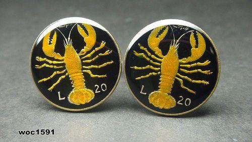 San Marino coin cufflinks 20 Lire European Lobster RARE by wowcoin