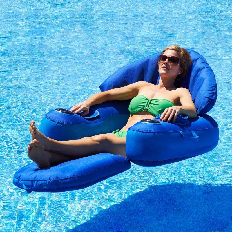 Water Float Pool Lounger Inflatable Blue Leisure Lounge Chair