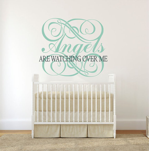 angels wall decal, angels decor, religious wall decal, nursery angel