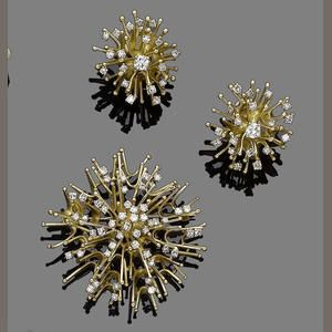 A diamond brooch and earclip suite, by  Alan Martin Gard