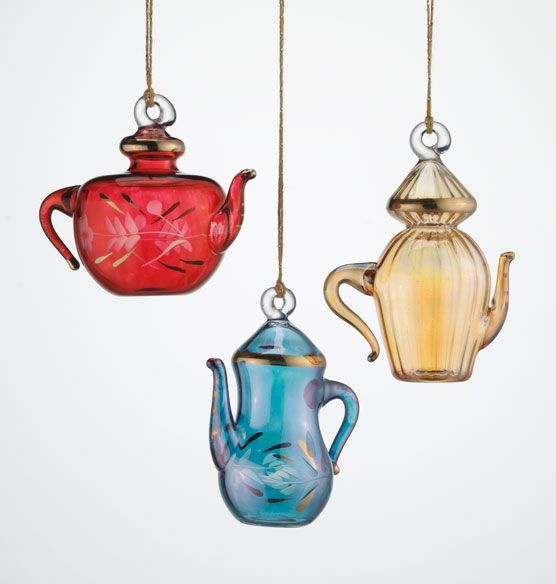 Egyptian Glass Ornament Set of 3 Teapots  Ornaments  Holidays