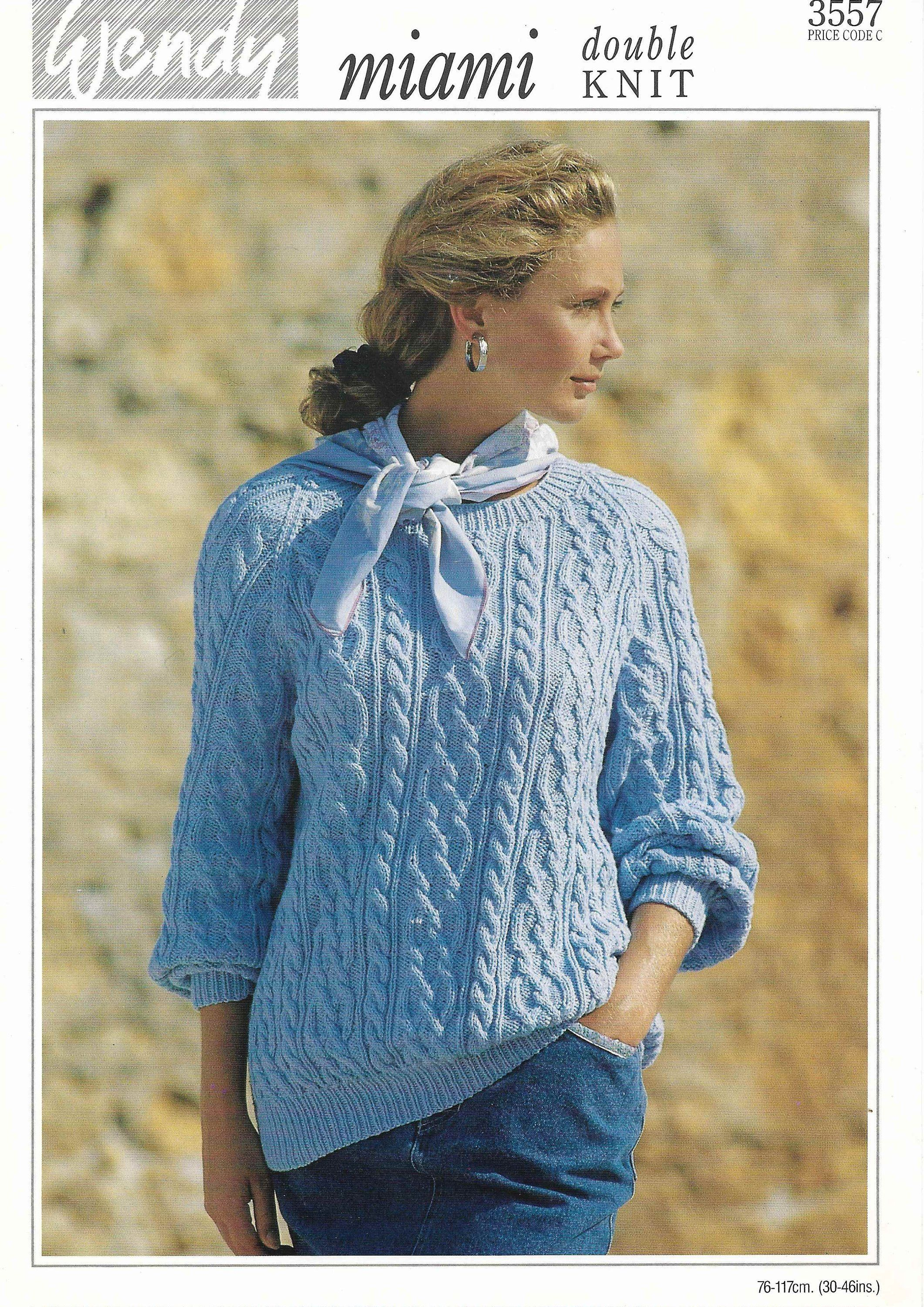 Women Cable Sweater Knitting Pattern Ladies Cable Jumper