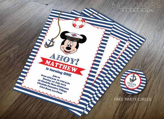 Nautical Mickey Mouse Invitation Printable Mickey By