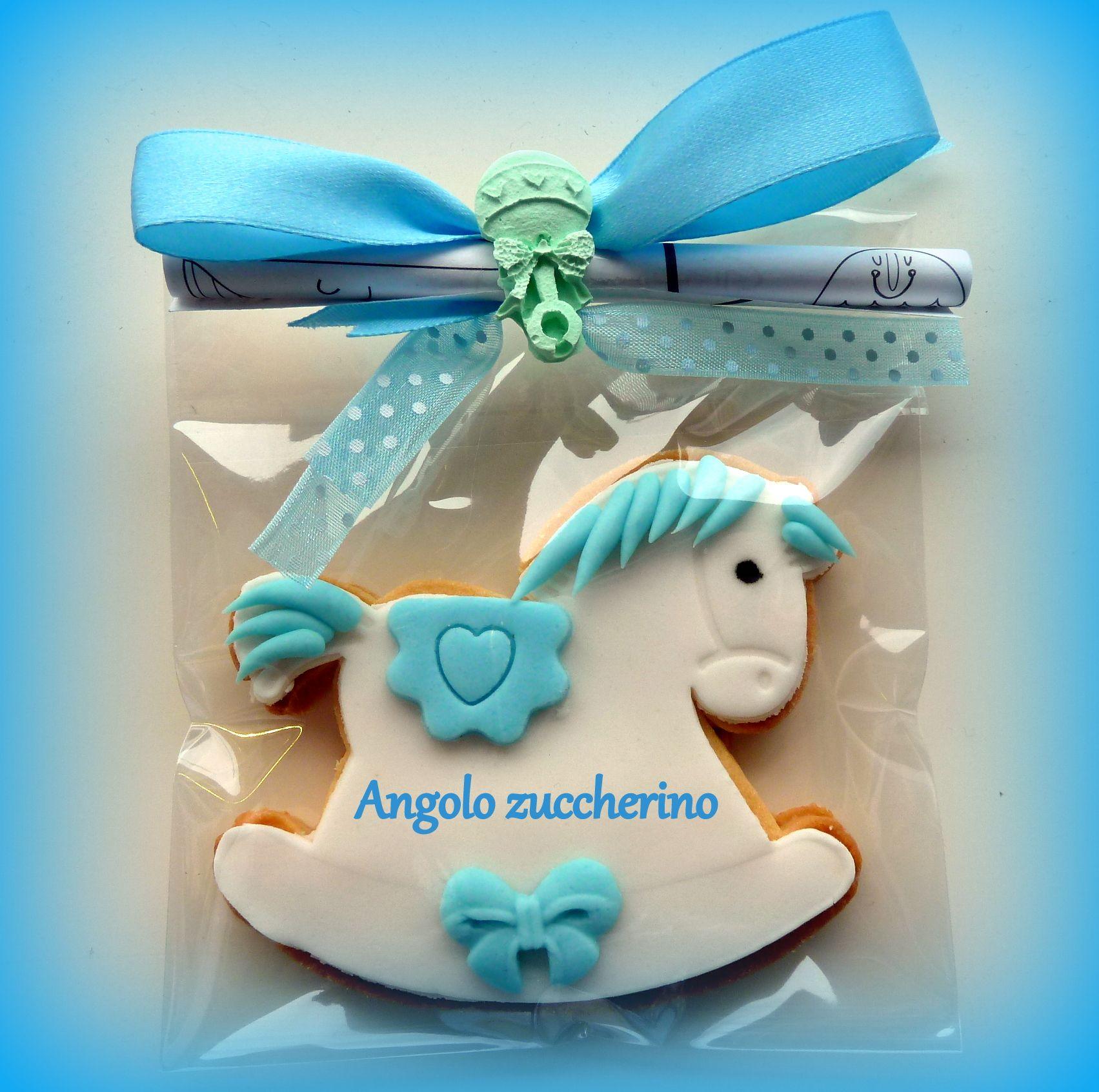 Cavallo A Dondolo Pasta Di Zucchero.Biscotto Decorato In Pasta Di Zucchero Cavallino A Dondolo