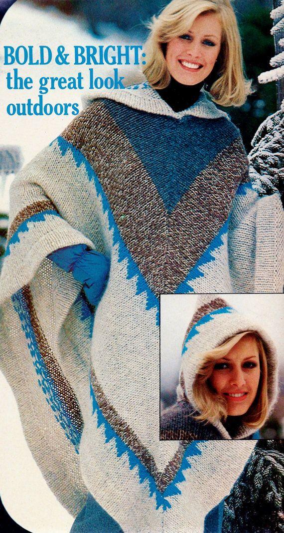 Hooded Poncho Vintage Knitting Pattern Download por MomentsInTwine ...