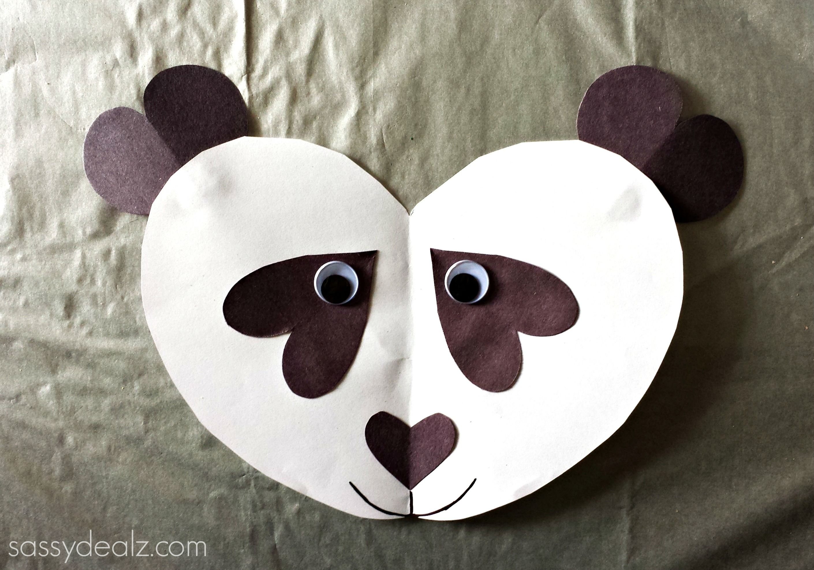 Panda Bear Heart Craft For Kids