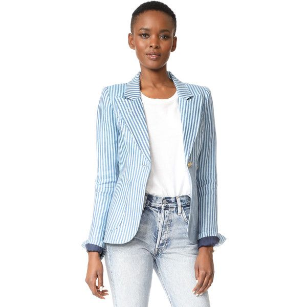 SMYTHE Patch Pocket Dutchess Blazer (€645) ❤ liked on Polyvore featuring outerwear, jackets, blazers, stripe blazer, blue leather jacket, leather jackets, striped leather jacket and real leather jackets