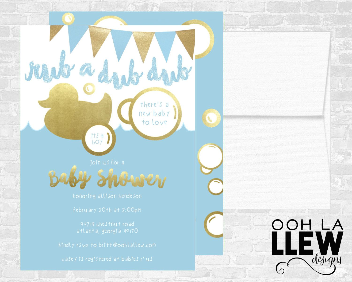 Baby Shower Invitation, Rubber Duck Baby Shower Invitation, Gold ...