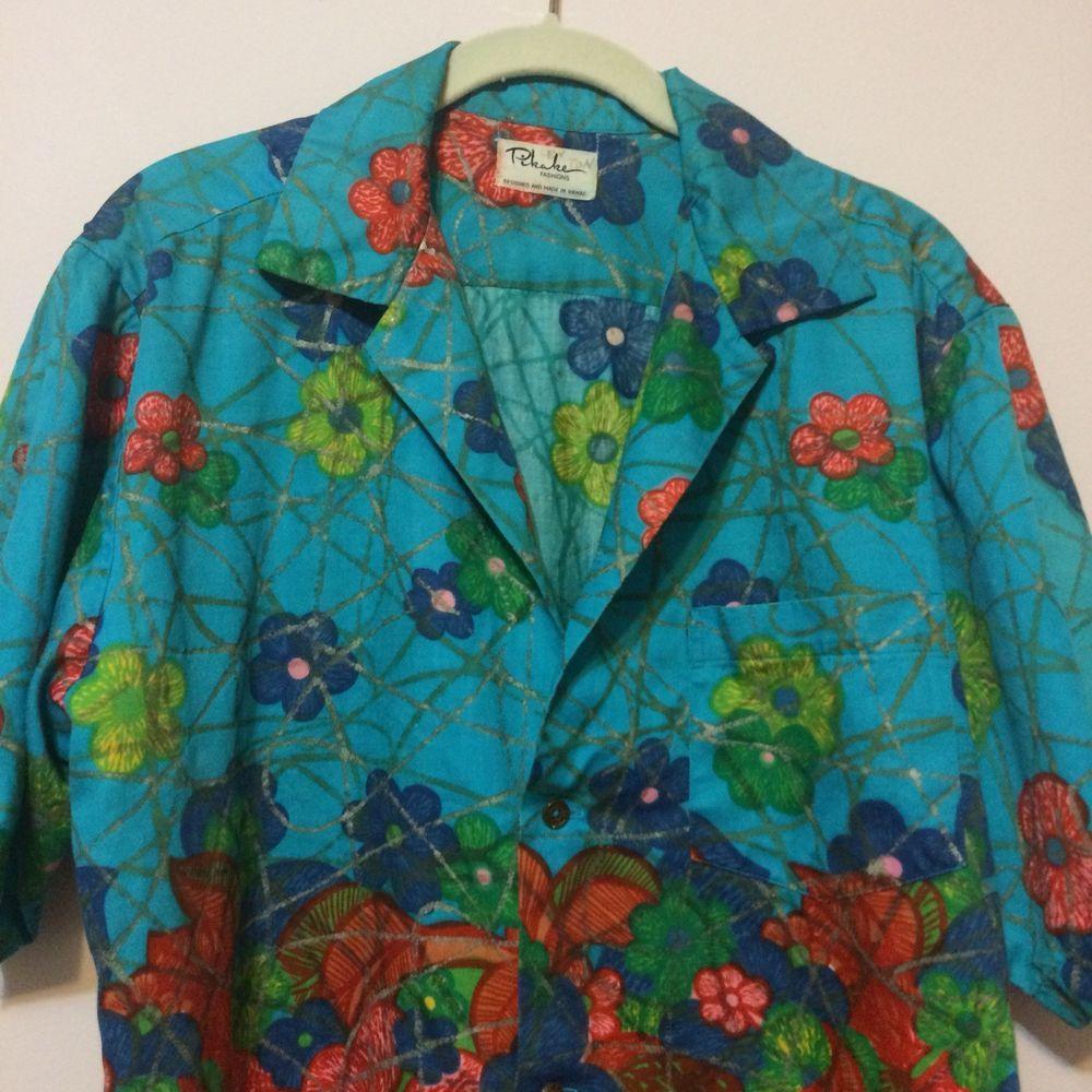 14a0d7fbd456 Pikake Men's Hawaiian Shirt Size L Turquoise Floral Button Front Short  Sleeves #PikakeFashions #Hawaiian