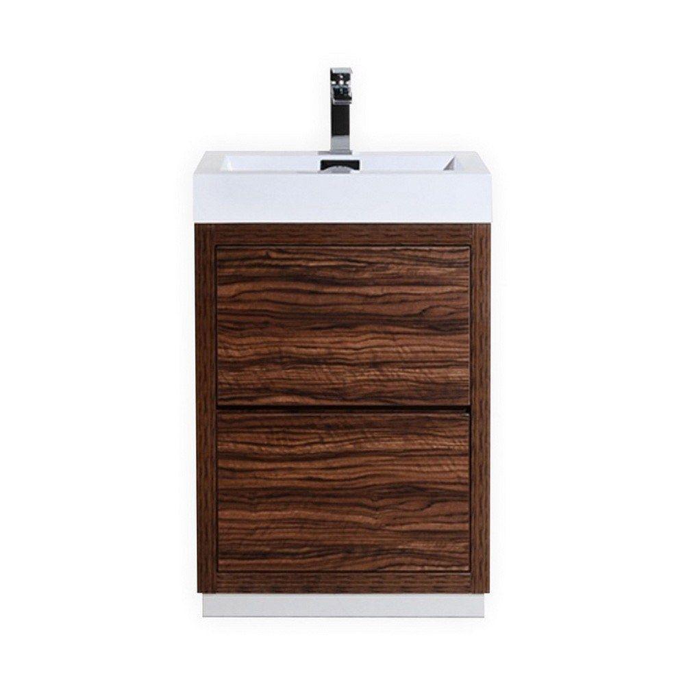 Bliss 24 Inch Walnut Free Standing Modern Bathroom Vanity Single