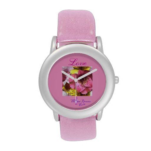 """""""Love"""" Pink Glitter Strap Watch #watch #love #pink #glitter #flowers #valentine #accessorize #ValentinesDay #sweetheart #zazzle"""