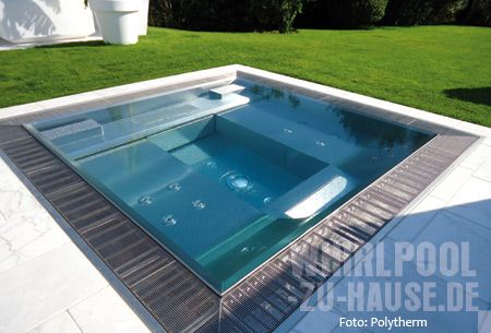ab in die zukunft bodenebener edelstahl whirlpool teich pool pinterest mini piscine. Black Bedroom Furniture Sets. Home Design Ideas