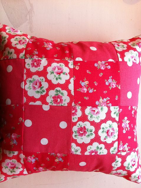 patchwork cushion by patchwork and lace, via Flickr