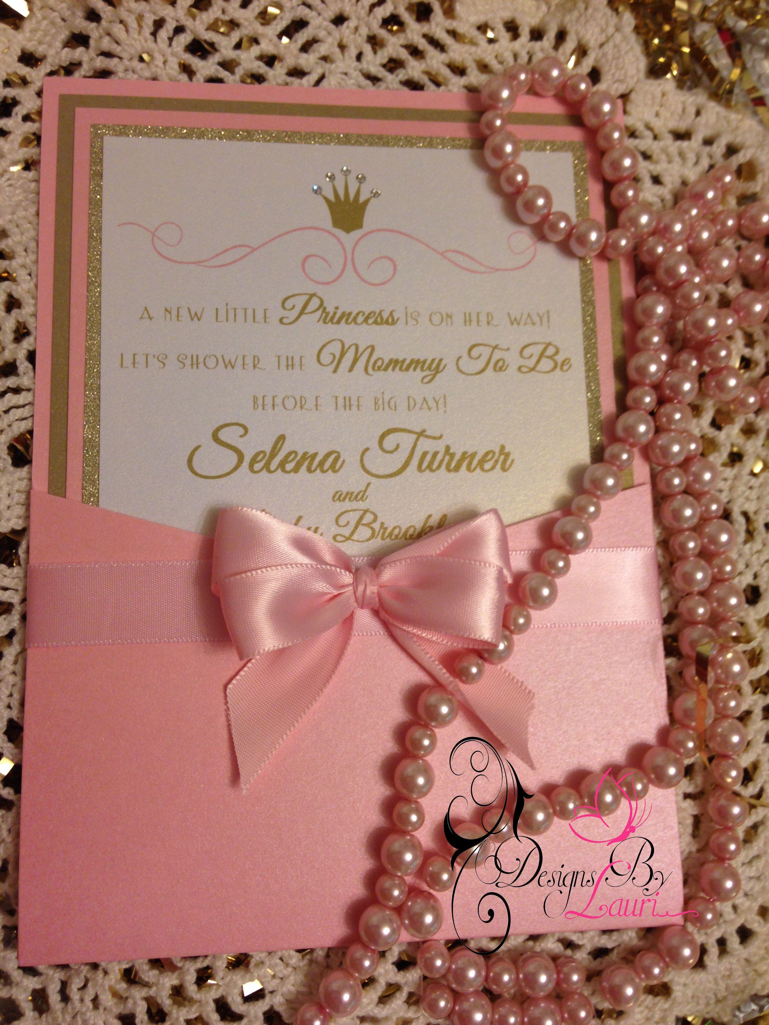 Gold color cardstock paper 5x7 - Pretty Pink Princess Invitation Made By Designs By Lauri 5x7 Denali Pocket In Pink Metallic Shimmer