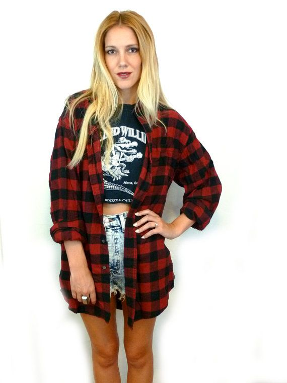 3331e57621f 90s Red and Black GRUNGE Flannel Long Sleeve Oversize BOYFRIEND Shirt   Outerwear