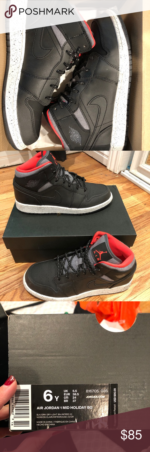 hot sales d8b63 a1c52 Air Jordan 1 Mid Holiday BG   Women   Youth Shoes Brand New Air Jordans 1