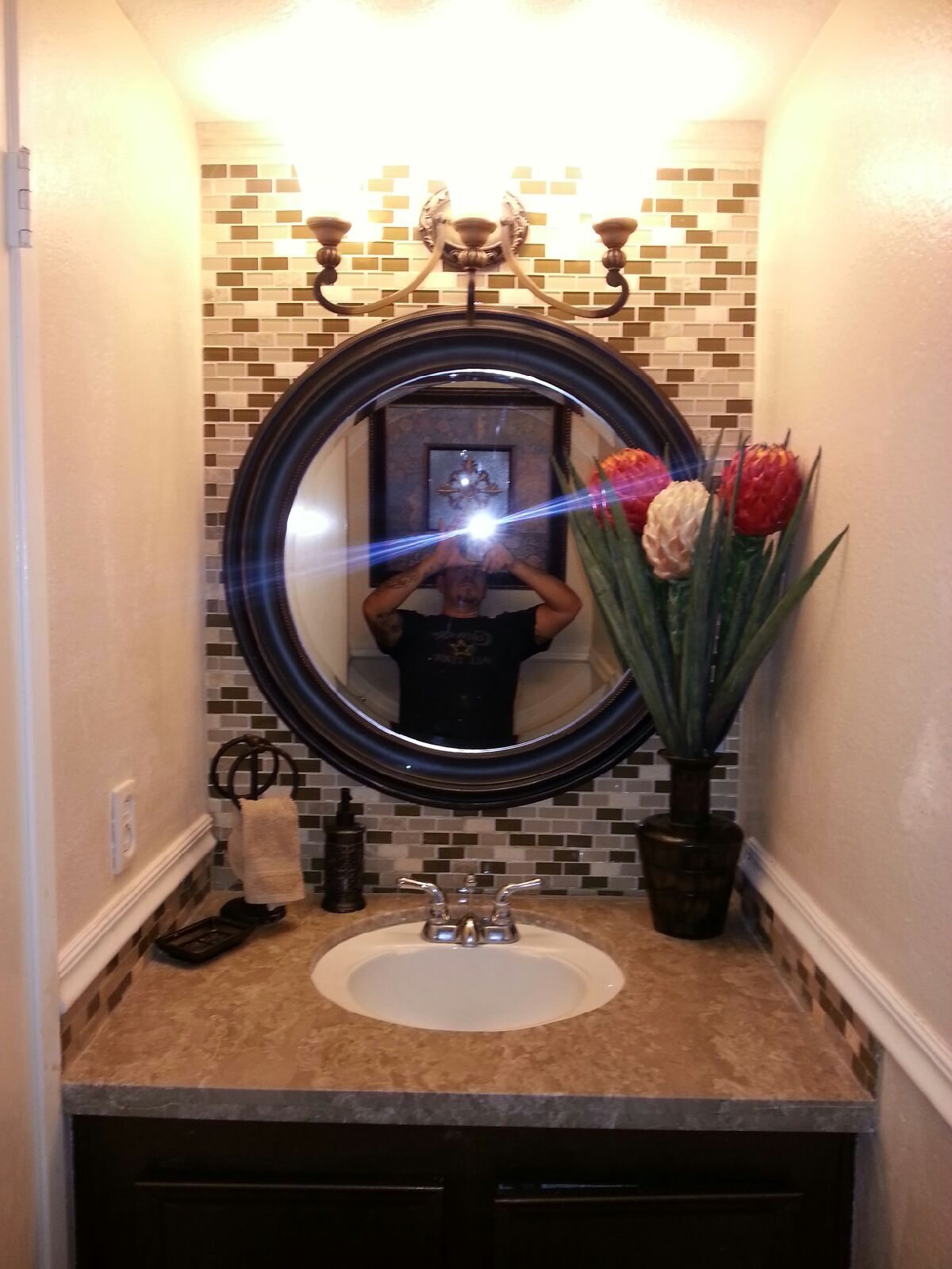 Half Bathroom Glass Tile Granite Countertop Inside Of