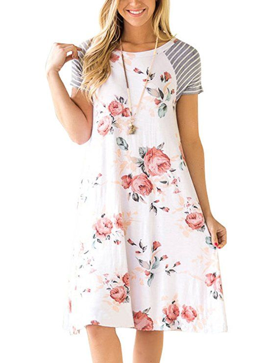 Ranphee Womens Floral Print T-shirt Dress Relax Striped Short Sleeve Casual  Dress |Spring