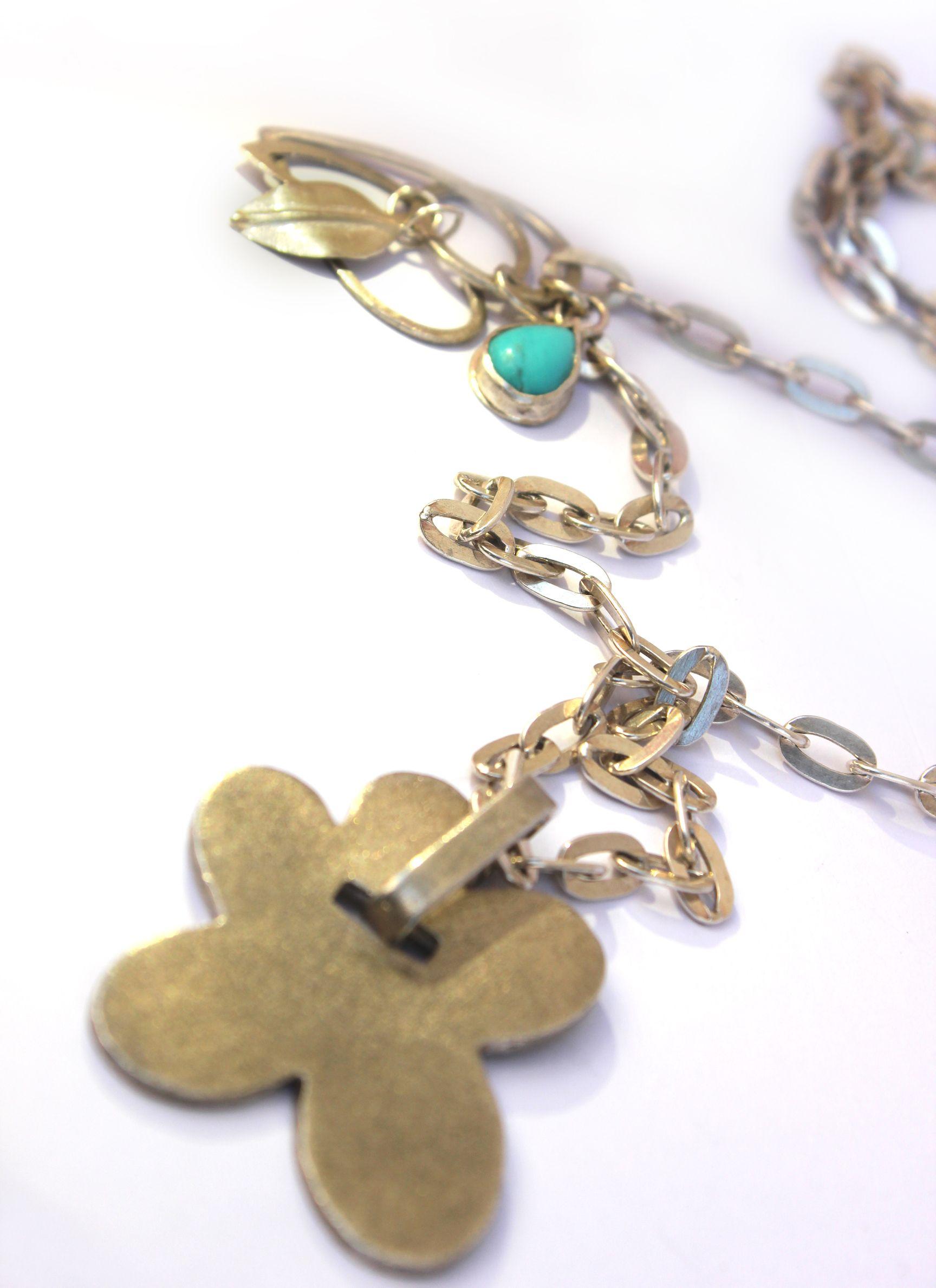 Long Sterling Silver Flower Necklace Designer necklace by Vered