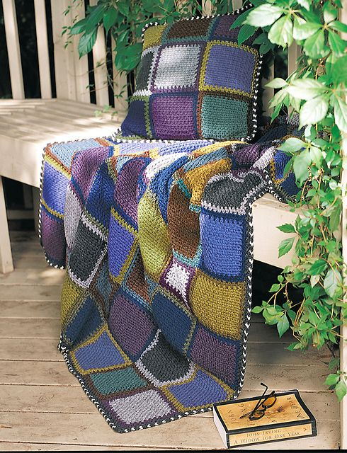 Rustic Patchwork Afghan & Pillow pattern by Patons | Häkeln ...