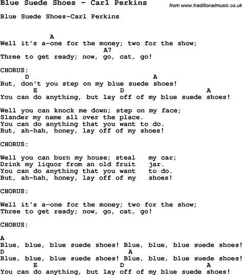 Valerie Lyrics And Piano Notes: Song Blue Suede Shoes By Carl Perkins, With Lyrics For