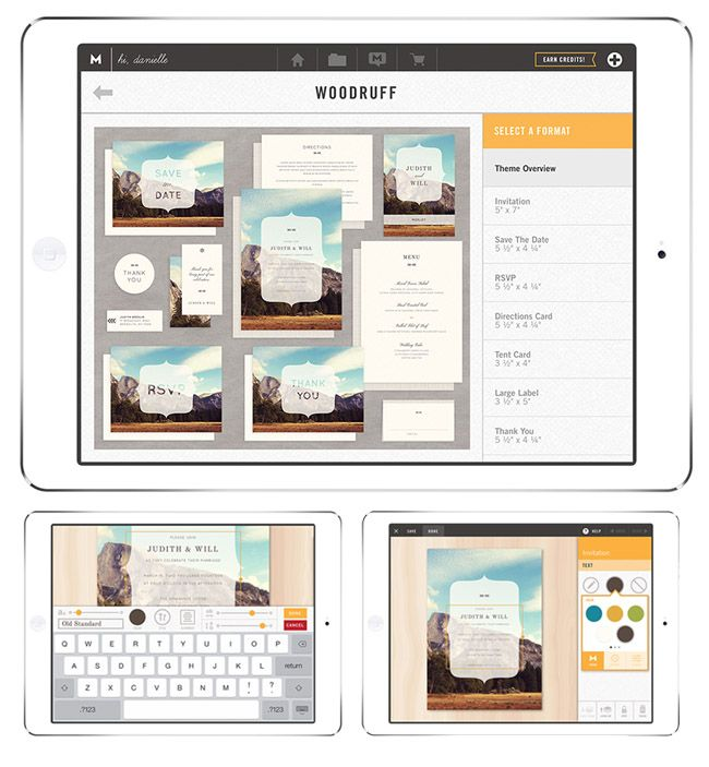 Makr iPad App for your wedding invitations Stationary Wedding