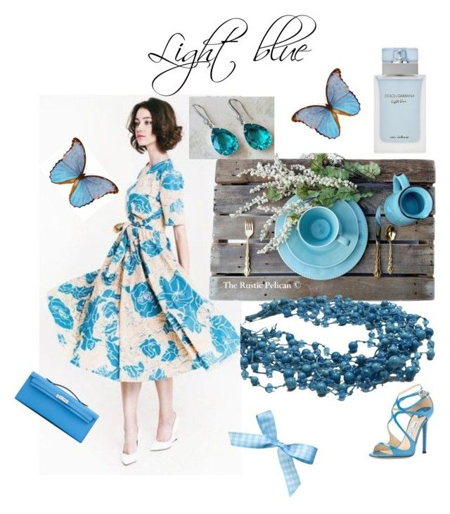 """""""Light blue"""" by varivodamar ❤ liked on Polyvore featuring Rustico, Jimmy Choo, Hermès and modern"""
