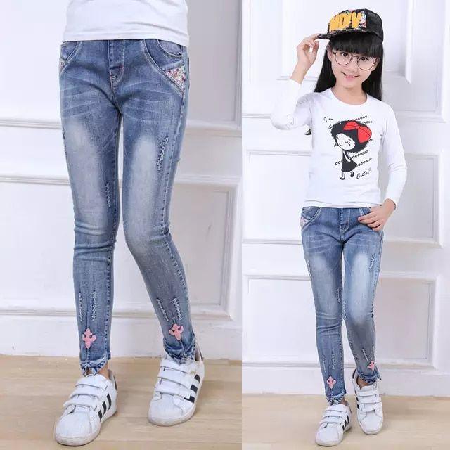 0686c655d Ropa de 2018 niños del otoño niñas jeans casual slim thin denim Niña jeans  para niñas