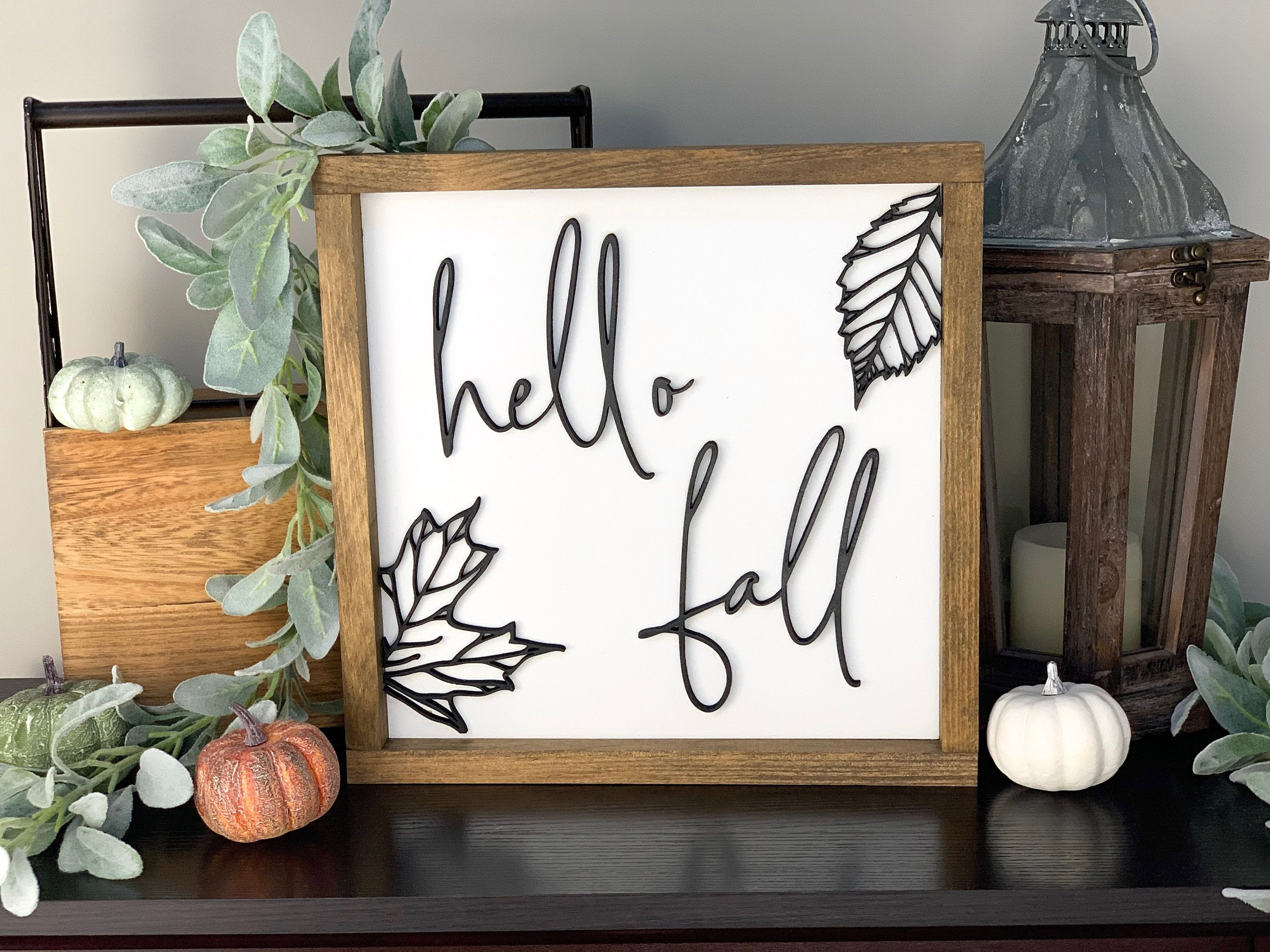 Hello Fall Wood Sign, 12x 12 Fall Farmhouse Signs, Fall Decor Farmhouse, Rustic Fall Decor, Farmhouse Wood Sign, Raised Letter Sign #hellofall