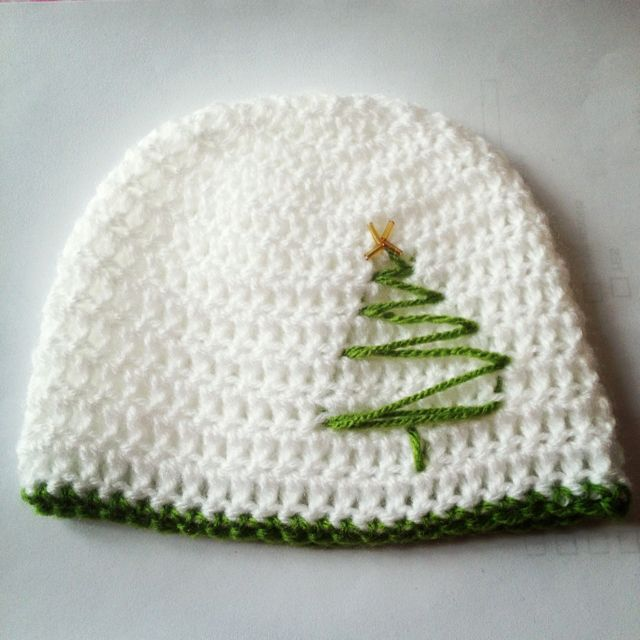Christmas Tree Hat - pic only, no link, but this would be so easy to ...
