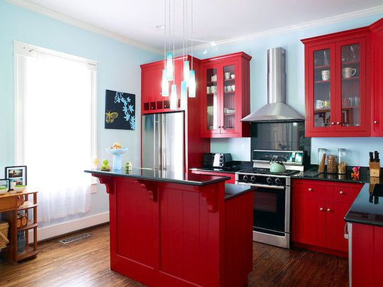 Light Blue Walls Red Cabinets Kitchen Google Search Red Kitchen Red Kitchen Cabinets Red Kitchen Decor