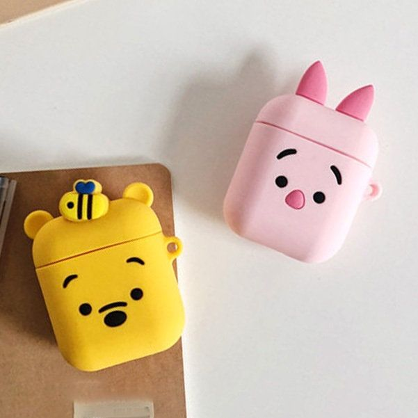 Cute Winnie The Pooh And Piglet Airpod Case With Keyring Cute