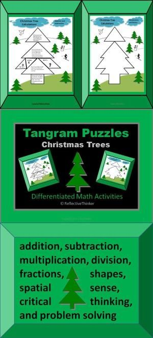 fun and engaging christmas tree tangram puzzles that provide practice for the following math skills