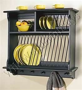 French Country Wood Wall Mount Plate Rack Kitchen Plate Solid