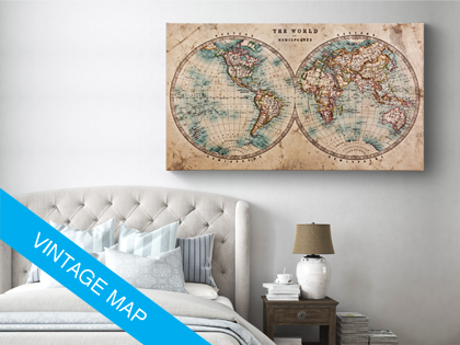 Vintage world map on canvas where did you travel pin it on your vintage world map on canvas where did you travel pin it on your own gumiabroncs Images