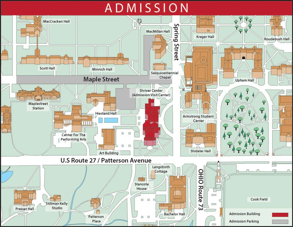 u miami campus map Oxford Campus Map Showing The Location Of The Admission Visit u miami campus map