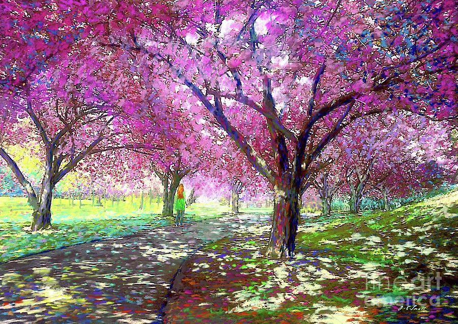 Cherry Blossoms Tree Sakura Pink Tree Landscape Original Etsy In 2021 Oil Painting Texture Oil Painting Landscape Cherry Blossom Art