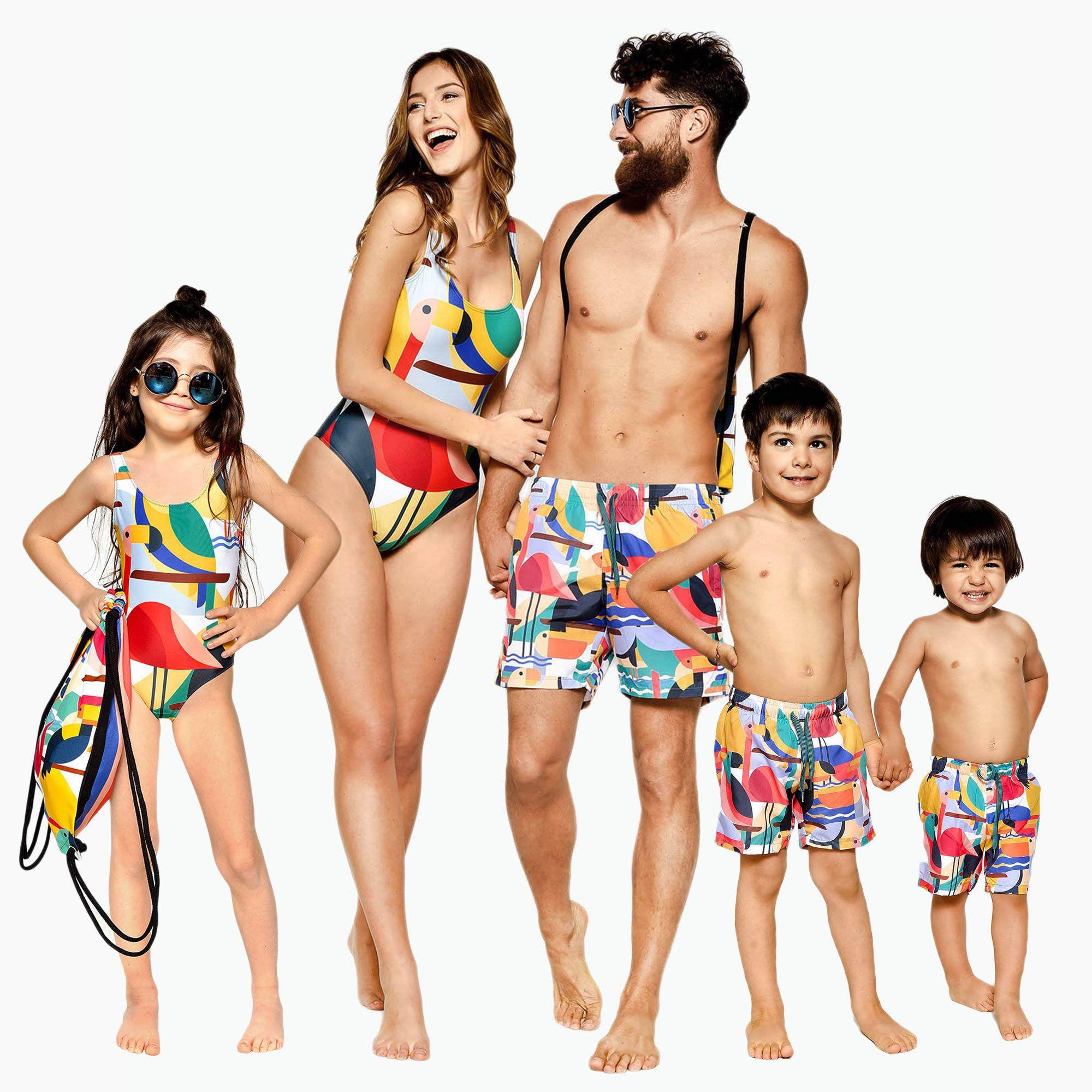 cf61fb1568 Family Matching Swimsuits, Flamingo Swimsuits, Family Matching Swimwear,  One Piece Swimsuit, Flamingo Clothing, Summer Swimsuit, Swim Shorts