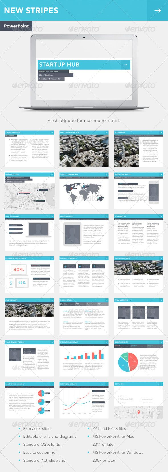 New Stripes PowerPoint Template (Powerpoint Templates)