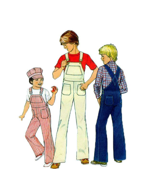 Simplicity 7015 Childrens Bib Overalls and Train Engineer Hat/Cap Wide Straps Patch Pockets Size: 5-6 Vintage Pattern by FindCraftyPatterns on Etsy