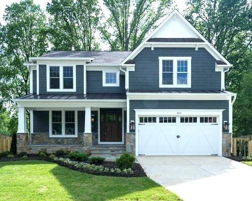 Blue House Black Shutters Dark Siding White Trim Houses With Gray Door