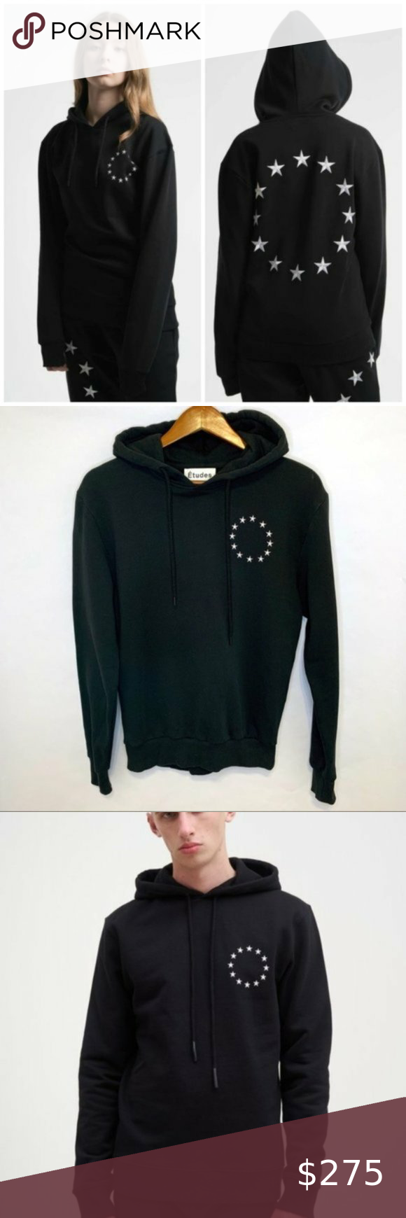 Rare Etudes Black Klein Europa Star Hoodie Small Size Small Measurements Approx Chest 19 Le Sweatshirt Tops Knit Turtleneck Sweater Cream Sweater Cardigan