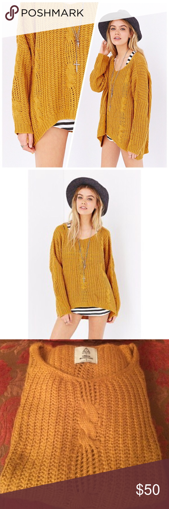 UNIF X UO mustard cable knit sweater | Cable, Stains and Layering