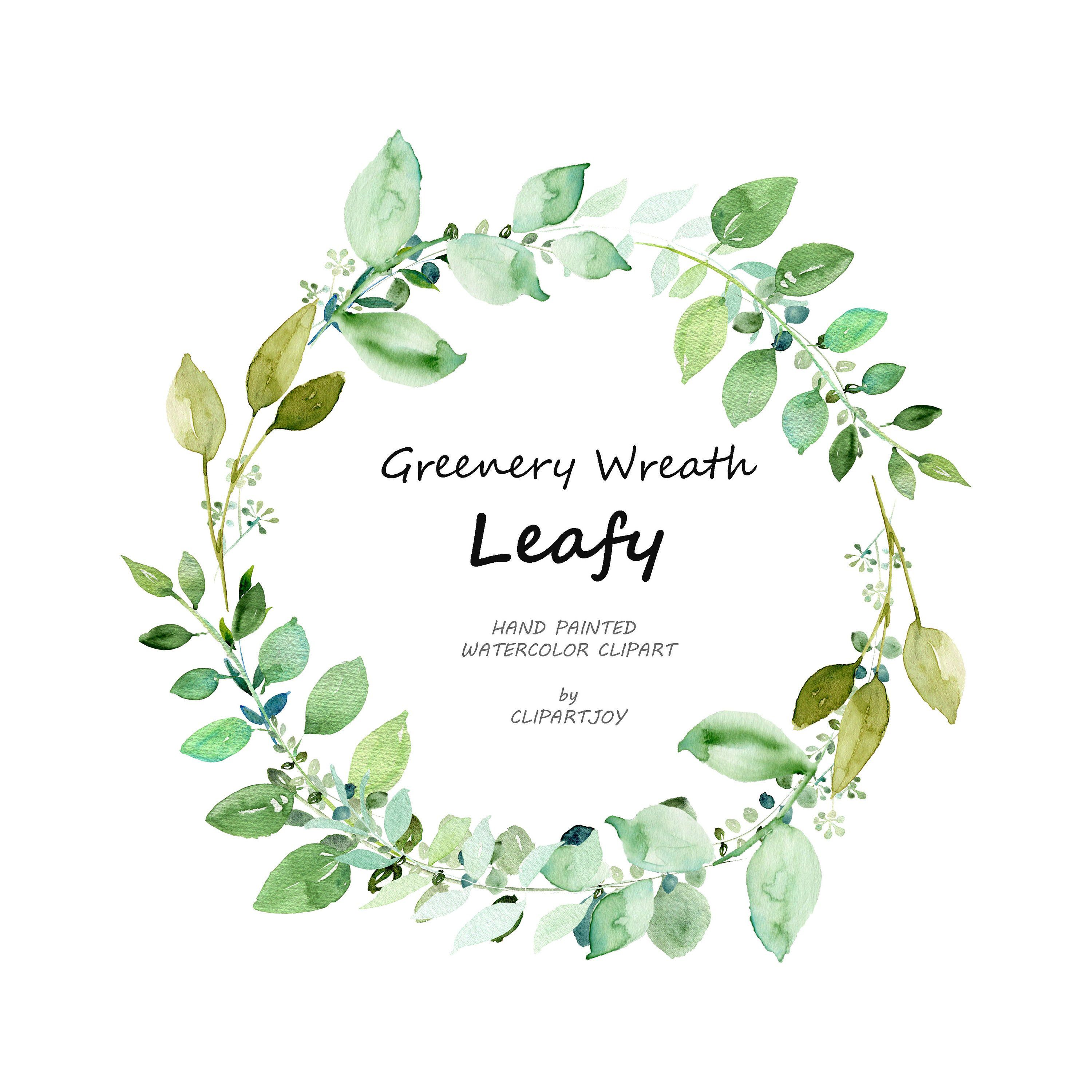 Watercolor Greenery Wreath Clipart Handpainted Graphic Png