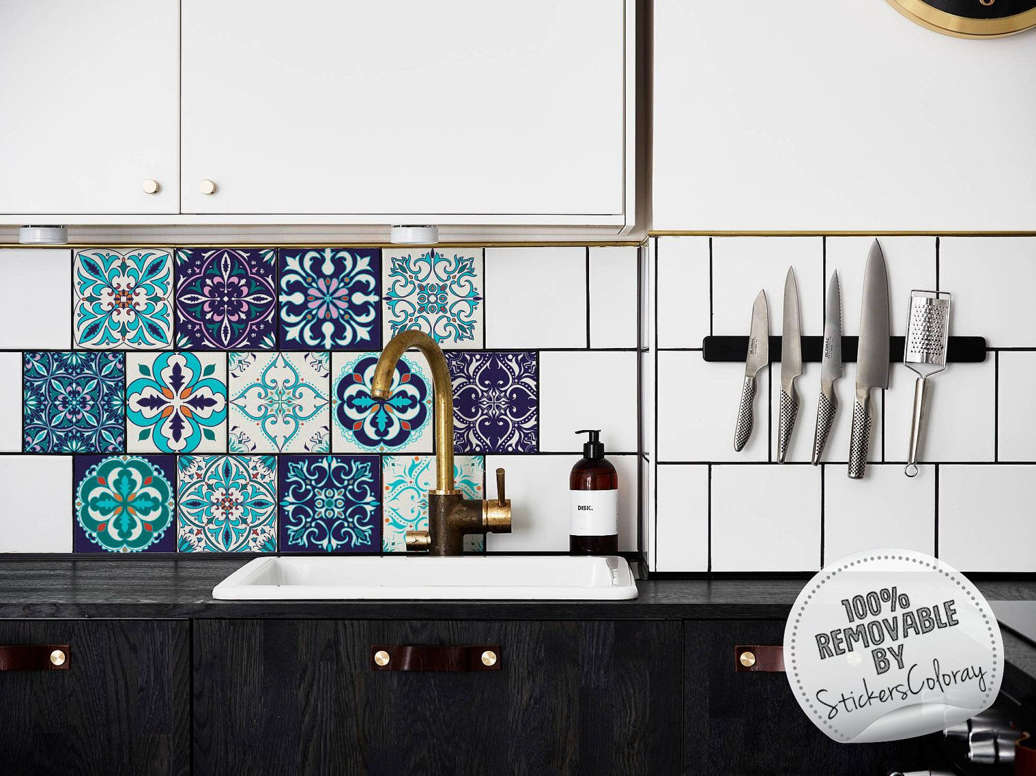 Blue Azulejo Tile Stickers, PACK OF 24, Removable, Ornamental ...