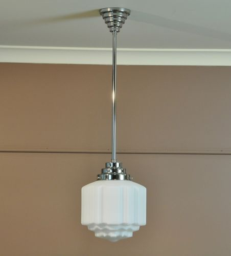 Details About St Kilda Art Deco Light Chrome Pendant Rod