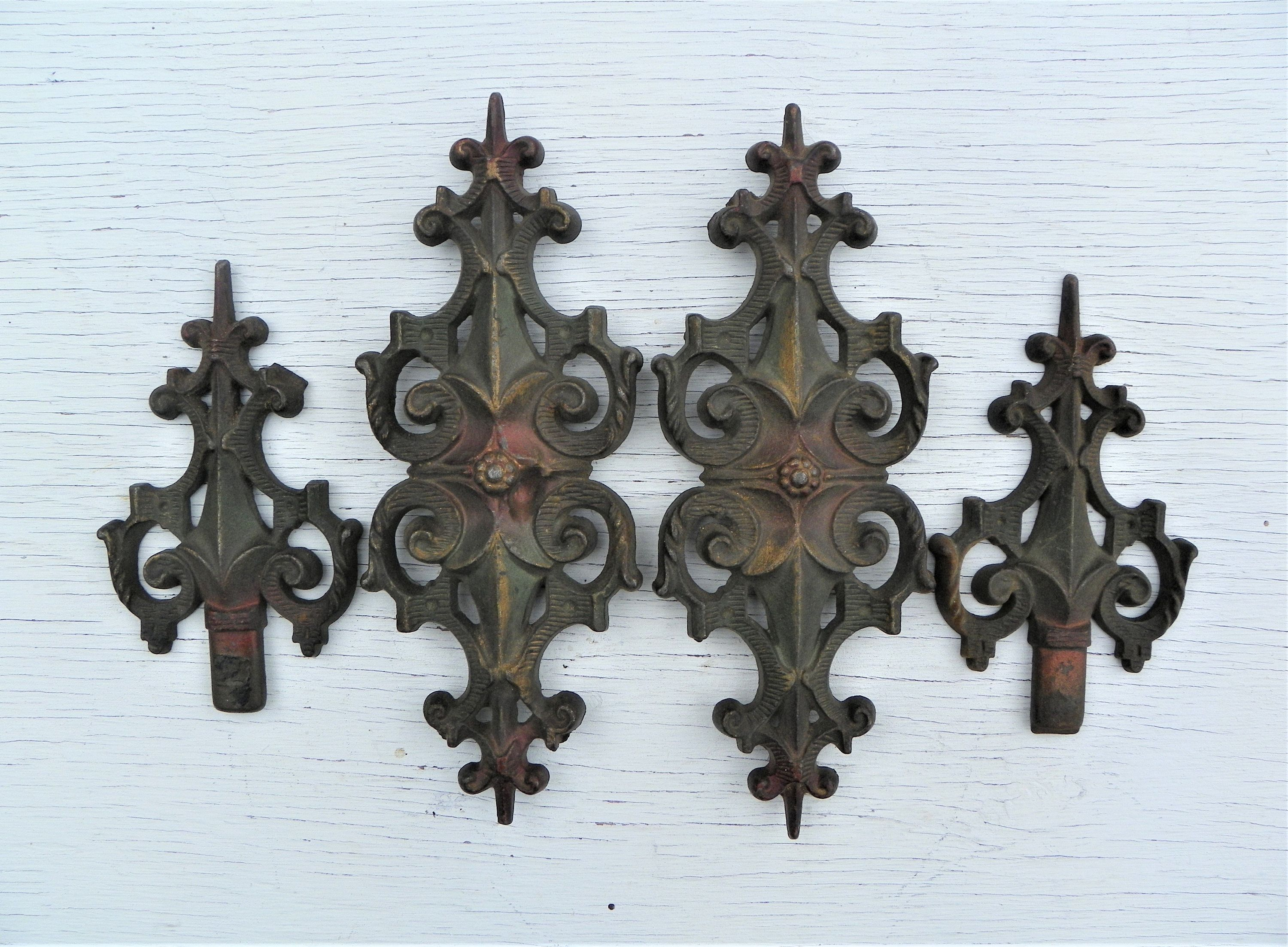 Vintage Cast Iron Fence Bed Post Finials Hardware Set Of 4 Iron Fence Cast Iron Fence Bed With Posts