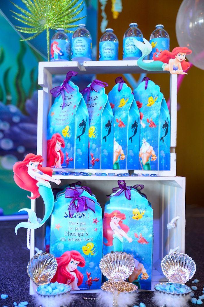 Little Mermaid gift bags from an Ariel the Little Mermaid Birthday ...