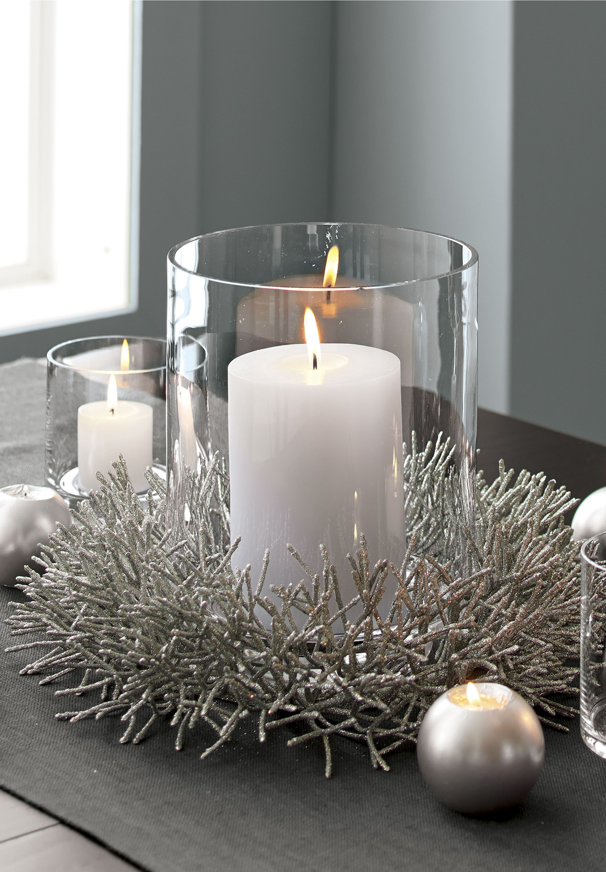 Taylor Large Glass Hurricane Candle Holder Reviews Crate And Barrel In 2021 Christmas Candle Decorations Christmas Centerpieces Christmas Table Decorations